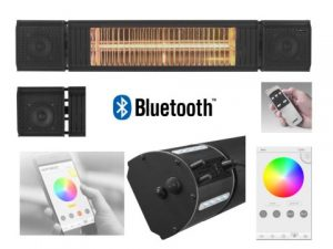 2.0kW HEAT and BEAT Infra-red Heater with Bluetooth Speakers and effects Lighting